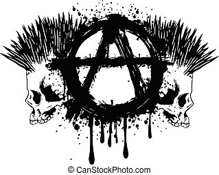 Vector illustration symbol anarchy and two punks skull for t-shirt or tattoo design