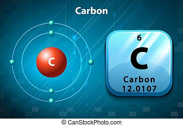 Symbol and electron diagram Carbon illustration