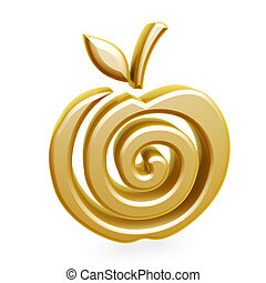 symbol, apfel, gold