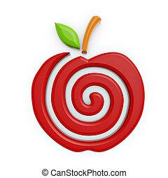 symbol, apfel, rotes