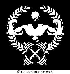 symbol, atlet, muskler, gymnastiksal