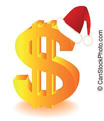 symbol, av, den, dig. s.  dollar, i rött, mössa
