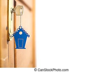 symbol, av, den, hus, och, käpp, den, _ stämma in, den, nyckelhål