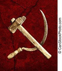 symbol, av, den, ussr, hammare och skära