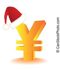 symbol, av, den, yen, i rött, hatt, jultomten
