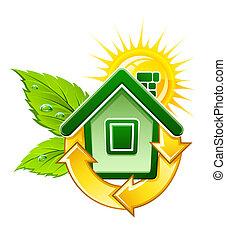 symbol, av, ekologisk, hus, med, sol energi