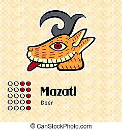 symbol, aztekisk, mazatl