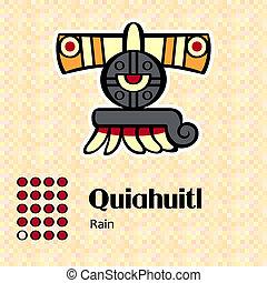 symbol, aztekisk, quiahuitl