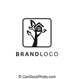 symbol, baum- haus, vektor, logo