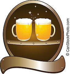 symbol beer pub with two mug