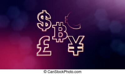 symbol bitcoin dollar euro pound and yen. Financial background made of glow particles as vitrtual hologram. 3D seamless animation with depth of field, bokeh and copy space. Violet v5