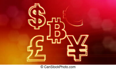 symbol bitcoin dollar euro pound and yen. Financial background made of glow particles as vitrtual hologram. 3D seamless animation with depth of field, bokeh and copy space. Red v5