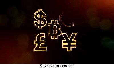 symbol bitcoin dollar euro pound and yen. Financial...