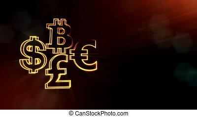symbol bitcoin dollar euro pound.. Financial background made...