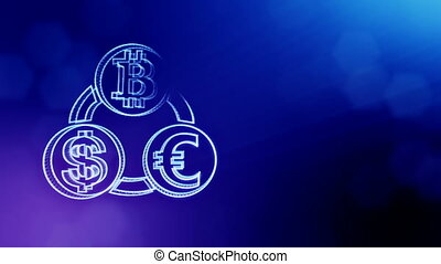 symbol bitcoin euro and dollar in a circular bunch. Financial background made of glow particles. Shiny 3D seamless animation with depth of field, bokeh and copy space.. Blue version 3