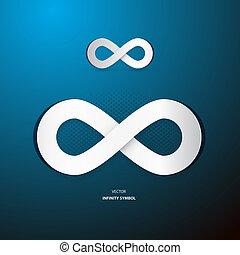 symbol, blåttbakgrund, vektor, oändlighet