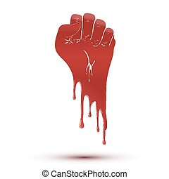 Symbol blood flow of clenched fist held in protest.