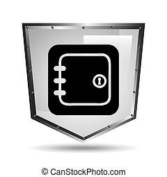 symbol box safety shield steel icon