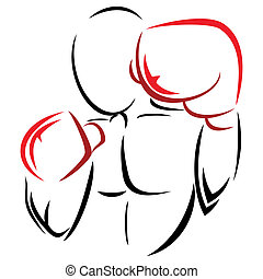 Symbol boxer - Illustration of man with red gloves