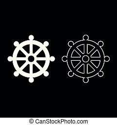 Symbol budhism wheel law religious sign icon set white color illustration flat style simple image