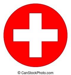 symbol, bunte, medizin, rotes kreuz