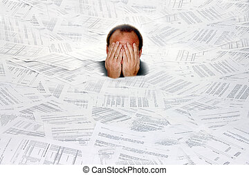 Symbol bureaucracy - Stress by red tape and paper filing