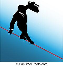 Symbol business man walks on danger risk tightrope - A...
