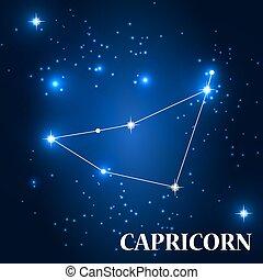 Symbol: Capricorn Zodiac Sign. Vector Illustration.