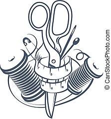 symbol, cięcie, szycie