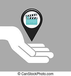 symbol cinema. icon clapper movie design