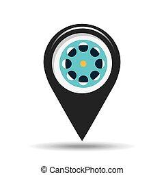 symbol, cinema., ikon, filma rullen, film, design