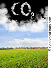 Symbol CO2 - Collage - symbol CO2 from clouds