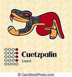 symbol, cuetzpalin, aztekisk