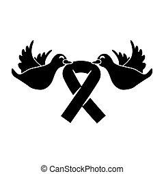 symbol, czarnoskóry, gołębice, rak, dziób