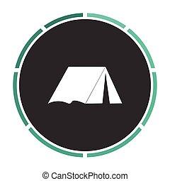 Symbol, dator, tält. Lägenhet, rita, pictogram, enkel, tält