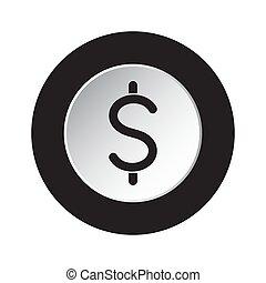 symbol dolara, -, waluta, ikona, czarnoskóry, biały, okrągły