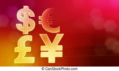 symbol dollar euro pound and yen. Financial background made of glow particles as vitrtual hologram. 3D seamless animation with depth of field, bokeh and copy space. Red v6