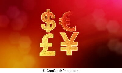 symbol dollar euro pound and yen. Financial background made of glow particles as vitrtual hologram. 3D seamless animation with depth of field, bokeh and copy space. Red v5.
