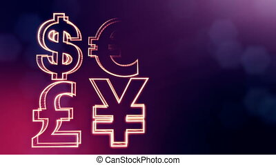 symbol dollar euro pound and yen. Financial background made of glow particles as vitrtual hologram. 3D seamless animation with depth of field, bokeh and copy space.. Purple color v1
