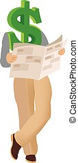 symbol dollar informs reading financial newspaper
