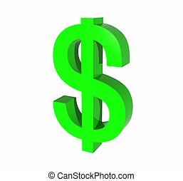 symbol, dollar, uns, 3d
