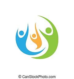 symbol, drei, gemeinschaft, personen, vektor, logo, 3, schablone, bunte, design, zeichen, personengruppe