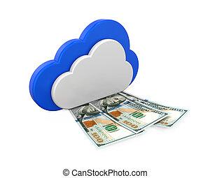 symbol, dzioby, dolar, chmura, obliczanie