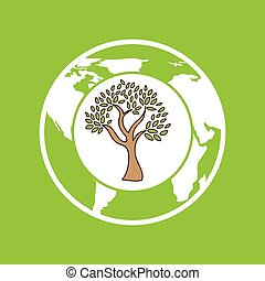 symbol ecology tree global icon