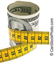 Symbol economy package with dollar bill and tape measure
