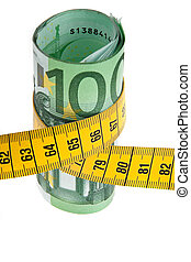 Symbol economy package with Euro bank note and tape measure