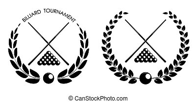 symbol, emblem of billiard cues and pool ball set with laurel wreath for competition. Sports equipment. Active lifestyle. Vector