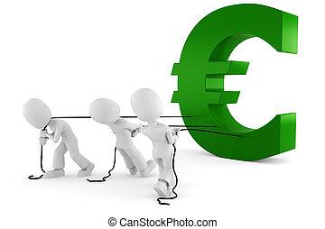 symbol, euro, ziehen, mann, 3d
