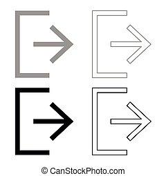 Symbol exit icon set grey black color
