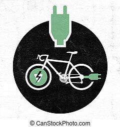 symbol, Fahrrad, elektro